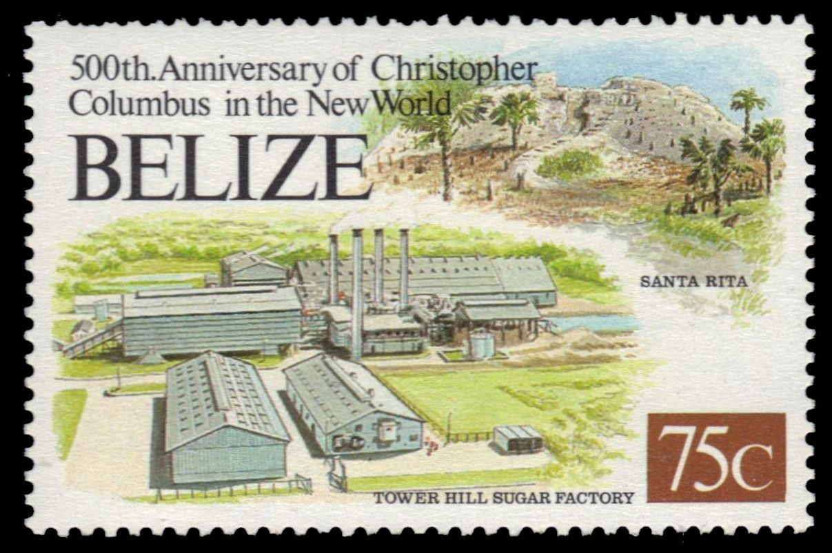 Postage stamp showing the Tower Hill Sugar Factory Belize 1992