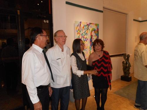 Photo: Robert Adams (left to right), artist Jorge Jacas Vivanco, Cuban Consul Mario Jorge Garcia Cecelia, curator Ana Joa Zagas and SoHo owner Adele Aguirre.