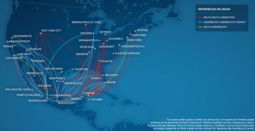 Delta Aeromexico Route Connections