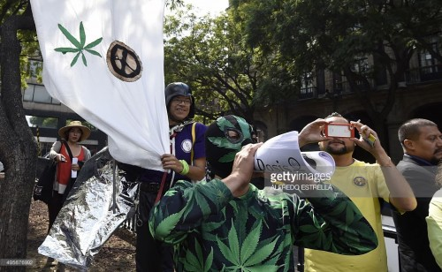 (Photo: Getty Images) Pro-marijuana activists outside the Mexican Supreme Court.