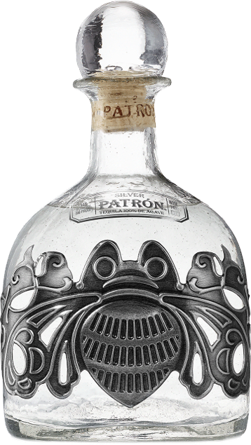 An elegant pewter bee design makes this extra large bottle of Patrón Silver extra special.