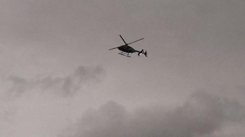 Photo: Diario de Yucatan SSP helicopter flys over downtown Merida.