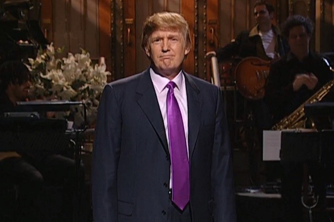 "In 2004, Trump opened his monologue by saying, ""It's great to be here at Saturday Night Live, but I'll be completely honest: It's even better for Saturday Night Live that I'm here."" (Photo: NBC)"