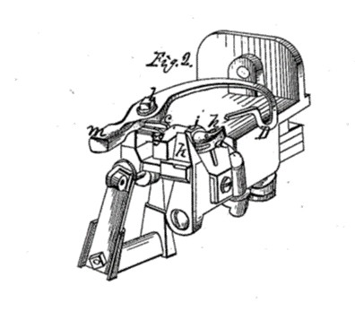 Drawing of John Appleby's knotting device. U.S. Patent 208,137 (September 17, 1878) (United States Patent and Trademark Office)