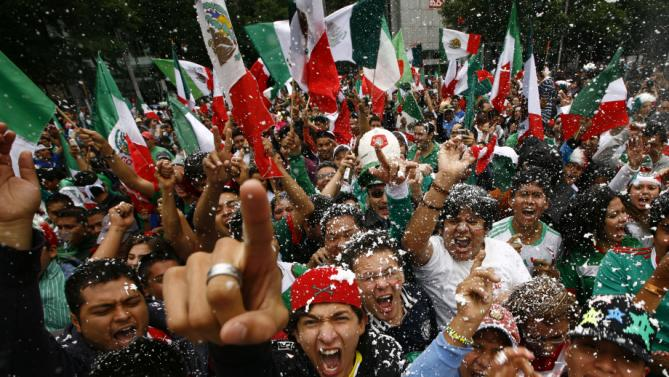 APTOPIX Mexico Olympic Soccer Celebration