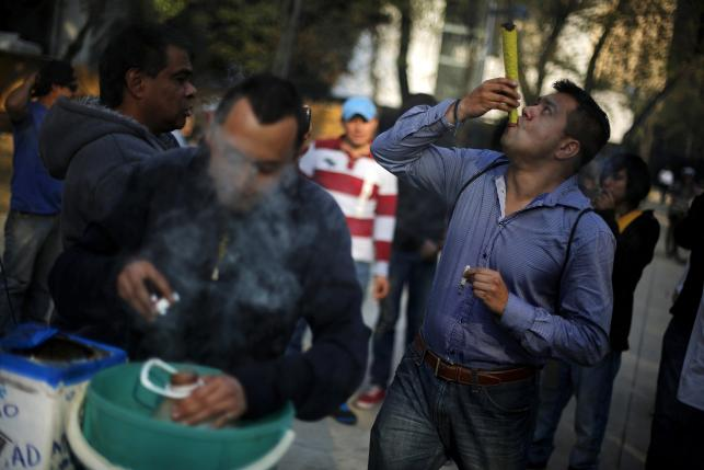 A man smokes a joint as another uses a water bottle bong during a rally to hand out information and collect signatures for marijuana legalization, outside the Senate building in Mexico City, in this January 22, 2014, file photo. REUTERS/Tomas Bravo/Files