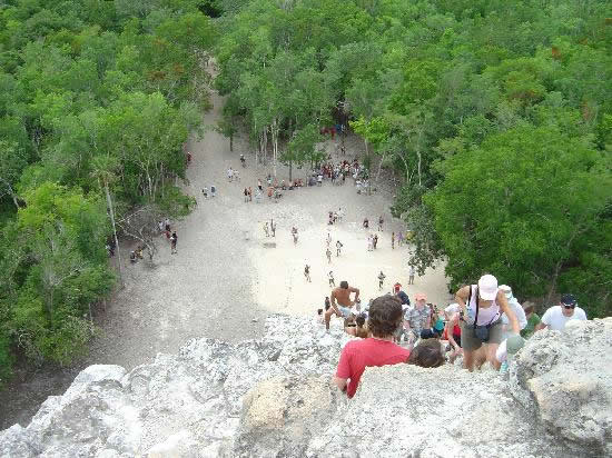 View from the top of Nohoch-Mul pyramid in Coba (Google)