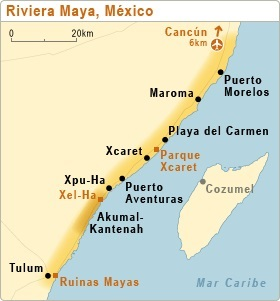 The city of Puerto Morelos is located mid-way between Cancun and Playa del Carmen. (Map: arrecifespuertomorelos.com)