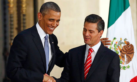Presidents Obama and Peña Nieto met in Mexico City in May 2013. (PHOTO: theguardian.com)