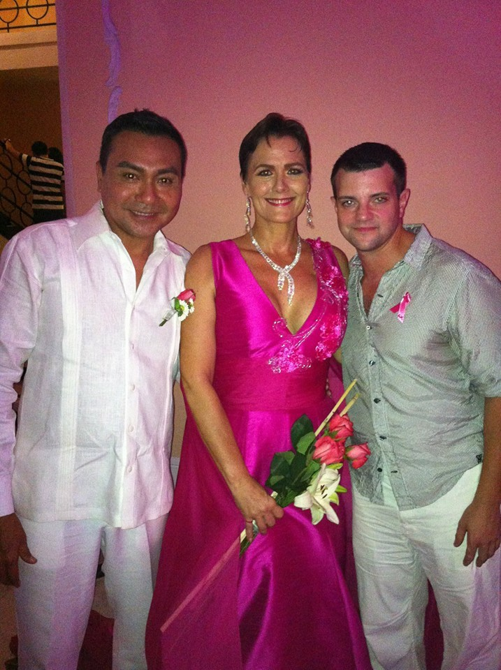 Martin Lopez, Deborah Colyn and Robert Abuda at the Tocate Breast Cancer fashion show.  Robert Abuda Salon did Deborah's makeup and hair for the show