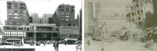 Hotel del Prado, Mexico City 1947 (left), 1985 (right) (Photos: Google)