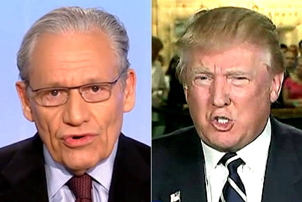 Journalist Bob Woodward (left) questioned Donald Trump about how he would get Mexico to pay for his proposed wall. (PHOTO: salon.com)