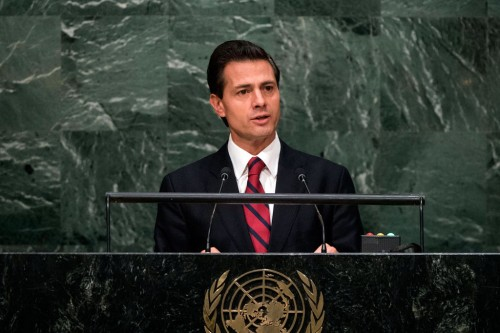 Enrique Peña Nieto, President of Mexico, called for decriminalization of drug use in a speech at the UN on Tuesday April 19. (PHOTO: United Nations)