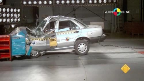 The Nissan Tsuru compact caris  shown in a recent crash test. (PHOTO: latinncap.org)