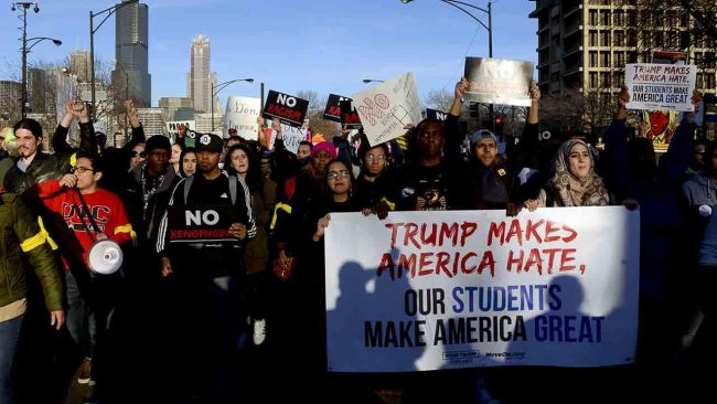 Students were among those protesting Donald Trump's planned Chicago rally last March. (PHOTO: youtube.com)
