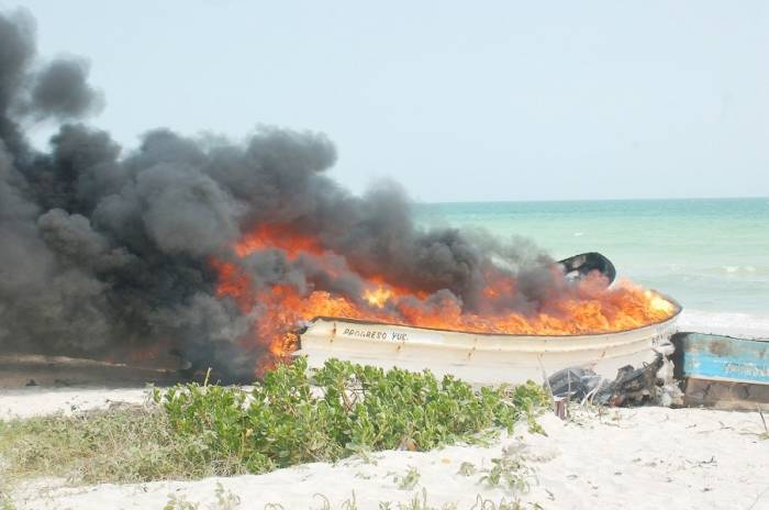 boats on fire San Felipe