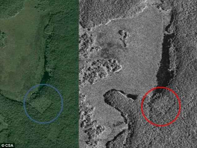 Satellite photo shows outlines of building at undiscovered Mayan city. (PHOTO: Canadian Space Agency)