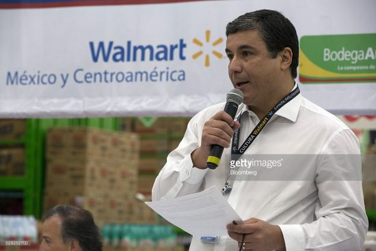 Guilherme Loureiro, chief executive officer of Wal-Mart de Mexico SAB, speaks during an event at a Bodega Aurrera store. (PHOTO: Susana Gonzalez/Bloomberg)