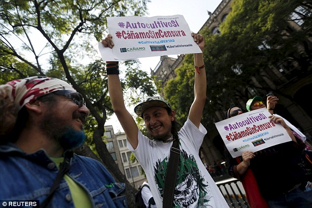 Pro-marijuana activists demonstrating in Mexico City recently. (PHOTO: reuters.com)