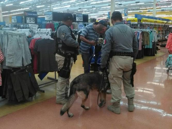 K-9 units inspected Walmart in the wake of a bomb threat. (PHOTO: sipse.com)