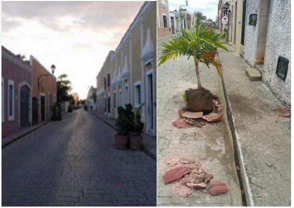 Calzada de los Frailes before and after (Photos: google /yucatanalamano)