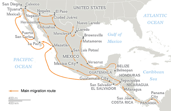 Central American migration routes through Mexico. (MAP: news.nationalgeographic.com)