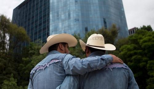 Mexican gay couple at Gay Pride Parade on Paseo de la Reforma (Google)