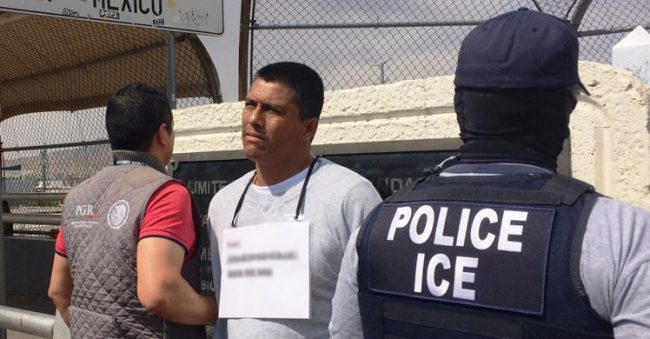Rape suspect was turned over to Mexican authorities on bridge from El Paso, TX to Juarez, Mexico. (PHOTO: ice.gov)