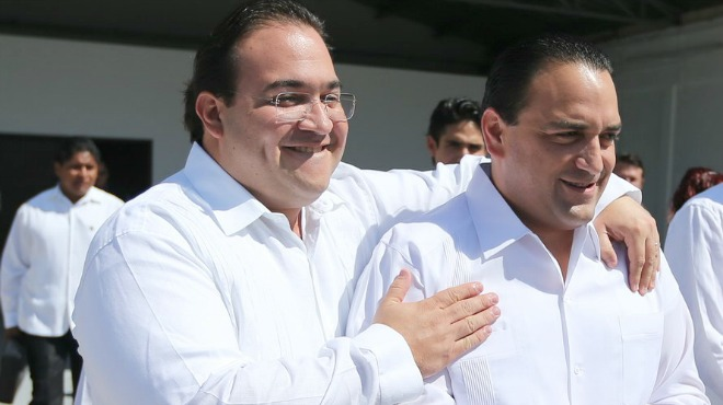 Javier Duarte, (left),, and Roberto Borge, former governors of Veracruz and Quintana Roo, respectively. (PHOTO: carloscantonzetina.blogspot.com)