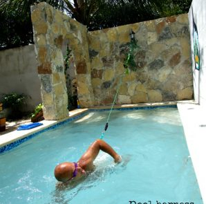 Use a pool harness to swim in place. (PHOTO: Andrea Aguilar)