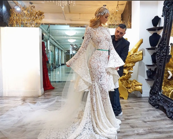 On the big day, the bride will be adorned in her custom dress by Michael Costello. (Courtesy Grand Velas Resorts)