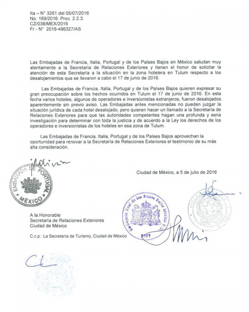 Letter from European embassies to Mexican government demanding investigation of expropriated properties in Tulum.