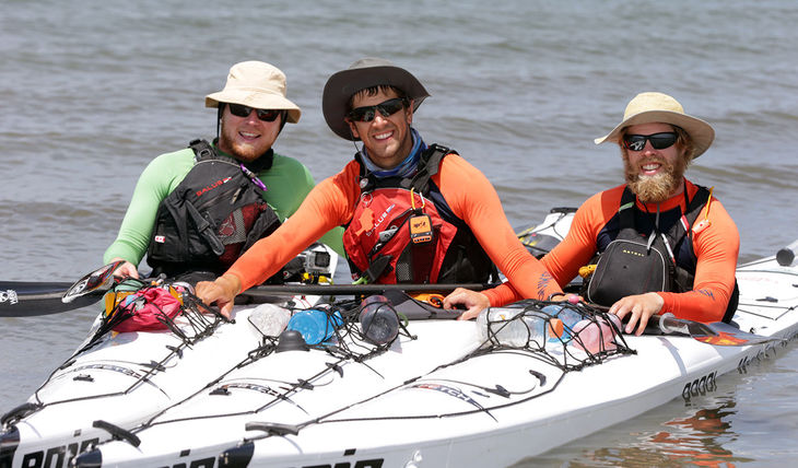 The three kayakers one year ago in an early leg of their expedition. (PHOTO: pressofatlanticcity.com)