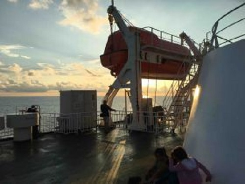 Deck of Baja Ferry morning towards Mazatlan (Photo: Chuck Bollotin)
