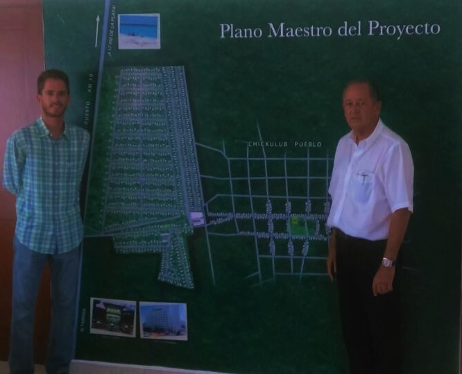Gerardo Millet M. (right) and Gerardo Millet P. (left) standing by Quintas Baspul Mater Plan blueprint (TYT)