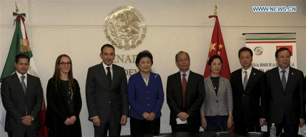Chinese Vice Premier Liu Yandong (4th, L) meets with Roberto Gil Zuarth (3rd, L), president of the Mexican Senate, in Mexico City Aug. 8, 2016. (PHOTO: Xinhua/Carlos Ramirez)