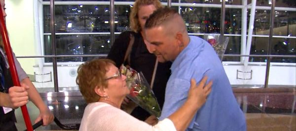 Heart patient Dixie Stinson was welcomed home in Indiana. (PHOTO: wthr.com)