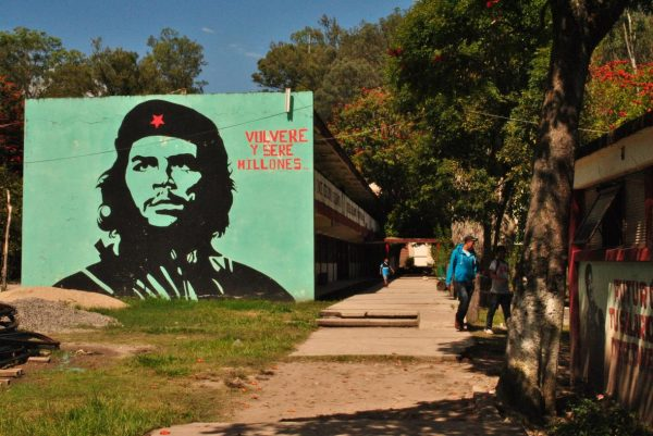 "Ayotzinapa normal school bears an image of Ernesto ""Che"" Guevara. (PHOTO: news.vice.com)"
