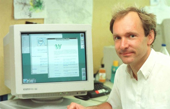 Sir Tim Berners Lee and the first web page (Photo: webfoundation.org)