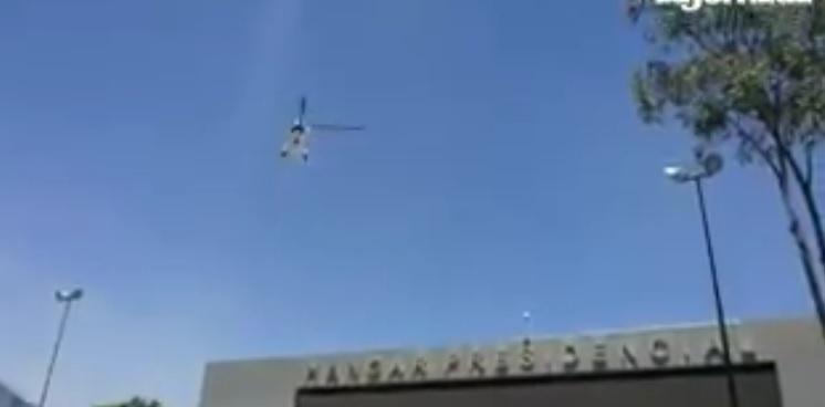 Donald Trump was flown to Los Pinos from the Presidential Hangar (La Jornada)