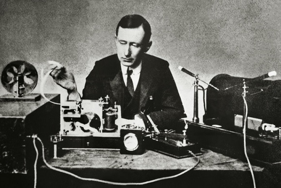 Guglielmo Giovanni Maria Marconi, Italian physicist and inventor, with one of his first wireless telegraphs. (