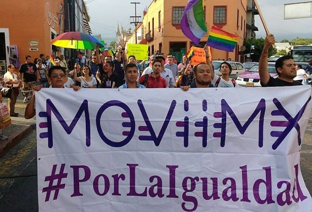 After the national meeting of LGBT activists in Mexico ended, participants marched through the streets of Cuernavaca on August 27. (Facebook/MOViiMX)