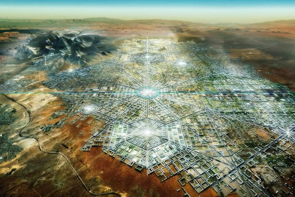 Rendering showing Border City, which features themed zones laid out in a hexagonal plan.