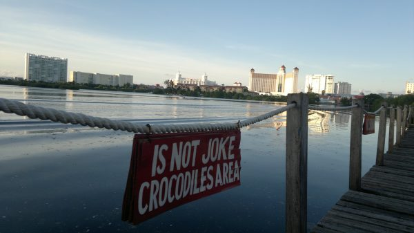 Signs posted around Cancun's Nichupte Lagoon warn about crocodiles. (PHOTO: gringationcancun.com)