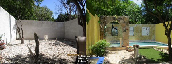 George and Andrea Aguilar's pool area before and after George's renovation project. (PHOTO: George Aguilar)