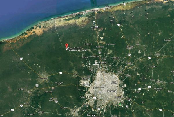 "Proposed site of ""smart city"" near Merida. (Map: ccs.miami.edu"