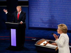 Donald Trump and Hillary Clinton at third presidential debate. (PHOTO: HipHopDX)