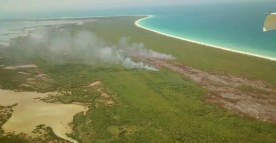 The Holbox fire has been brought under control, authorities say. PHOTO: CUARTOSCURO.COM