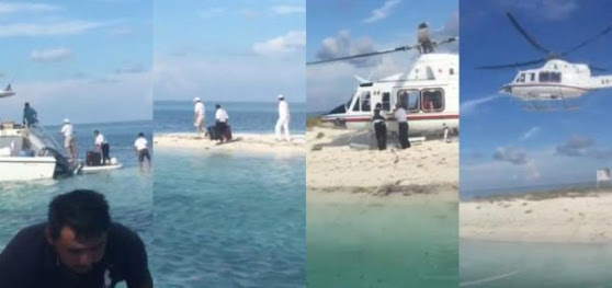 VIPs who deplaned from helicopter boarded a private yacht. (PHOTO: jorgecastronoriega.com)