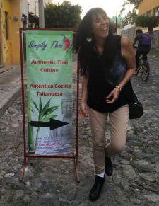 The author's wife at Thai restaurant in Ajijic. (PHOTO: Chuck Bolotin)